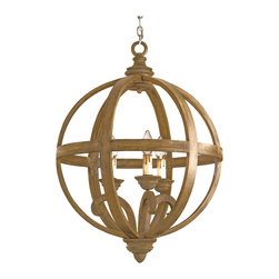 Kathy Kuo Home - Curved Wooden Orb 3 Light Chandelier- Small - Talk about a halo effect - an orb of chestnut finished wood supported by wrought iron wraps around a traditionally inspired three light chandelier.  A great choice for adding a little extra interest to your French country chandelier.