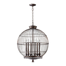Kathy Kuo Home - Hendricks Globe Oil Rubbed Bronze 6 Light Chandelier - Let your imagination soar with the bird cage chandelier.  Perched high above a dining table or entryway, this bird cage inspired fixture are sure to satisfy any flights of fancy.