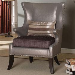 "Acme Furniture - Fawn Accent Chair with Pillow in - Fawn Accent Chair with Pillow in; KD Leg, Removable Seat, Spring cushion, Nailhead Accents; Materials: P2 Board,Schima Superba, CA Foam, PU & Fabric Seat, Spring Cushion; Weight: 54 lbs; Dimensions: 32"" x 31"" x 43""H"