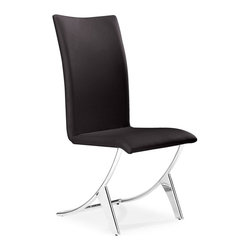 Zuo Modern - Zuo Modern Delfin Modern Dining Chair (Pack of 2) X-301201 - Probably the most comfortable and well-thought out dining chair of our collection, the Delfin chair has a slim silhouette that belies its comfort. It sits on chromed steel tube frame that has a slight reclining motion. A great chair for a great meal and after dinner conversation.