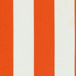 Orien Textile - Deck Stripe - Outdoor Fabric, Orange & White - This great outdoor fabric is stain and water resistant, perfect for outdoor settings and indoors in sunny rooms. It is fade resistant up to 500 hours of direct sun exposure. Create decorative toss pillows, chair pads, tabletop and tote bags. To maintain the life of the fabric bring indoors when not in use. This fabric can easily be cleaned by wiping down or hand washing with warm water and a mild soap solution, simply rinse with clear water to prevent dirt from embedding itself into the fabric.