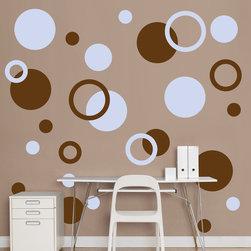 Fathead - Fathead Vinyl Wall Graphic - Brown and Light Blue Polka Dots