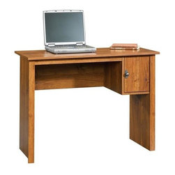 Sauder - Student Desk in Abbey Oak Finish - Not California Air Resources Board (CARB) compliant. Storage area behind door. Patented slide-on moldings. Made of engineered wood. Assembly required. 39 in. W x 17 in. D x 29 in. H