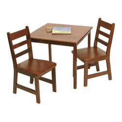 Lipper - Square Table & 2 Chairs Set - Cherry finish - Color: Cherry. Material: Wood/MDF. Table: 23.5 in. L x 23.5 in. W x 21.25 in. H. Chair: 14.5 in. L x 13.75 in. W x 25.5 in. H. Seat Height: 13.25 in.