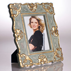 Vendome Frame French - Blue - 4 X 6 - A softly antiqued impression brought about by the juxtaposition of pastel slate and uptown gold makes the Vendome Frame in French Blue a subtle and sumptuous addition to a traditional room.� A touch of romance for the tabletop, this carved frame, which can be used horizontally or vertically to suit any 5x7 photo, will grant an elite antiqued look to the picture of your choice.