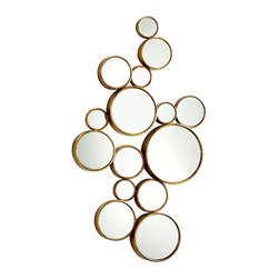 Bubbles Mirror - Old gold frames set the reflective panels of the Bubbles Mirror away from the wall, drawing attention to their flash and clarity while adding a hint of almost Byzantine grandeur to an otherwise modern home accent. Perfectly transitional in its balance of inspirations, this rich piece will find a place in minimalist homes as well as richly-appointed rooms.