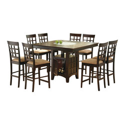 Coaster - Coaster Hyde 9 PC Counter Height Dining Set with Storage Base in Cappuccino - Coaster - Dining Sets - 100438PKG1 - Coaster Hyde 7 PC Counter Height Dining Set with Storage Base in Cappuccino