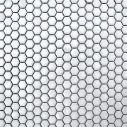 Supah Fish Tiles - Glazed Hexagons Bright White Mini Hexagon Mosaic - Step into a room that reminds you of classic french cafes, when you put down these mini hexagon mosaics.