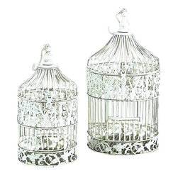 Benzara - Metal Bird Cage Shabby Chic White - Set of 2 - If you are looking for low cost but rare to find elsewhere utility- decor item to bring extra galore that could refresh the decor appeal of short spaces in garden or porch, beautifully carved 82677 METAL BIRD CAGE S/2 a set of two may be a good choice.