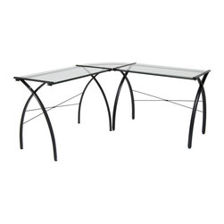 Calico Designs - Jameson LS Work Center - Black and Clear Glas - Chair not included. Powder Coated Steel for Durability . Rear Crossbar for Stability . Tempered Safety Glass Tops . (8) Floor Levelers for Uneven Surfaces . Overall Dimensions: 59 in. W x 59 in. D x 30 in. H. Main Work Surface: 35.5 in. L x 20 in. D x 2pcs. Corner Connector: 20 in. x 20 in.