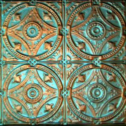 """Circles Tin Wall Plaque - 24""""x24"""" - This medium size plaque adds visual strength and drama to your walls decor. Sold individually, they are lovely hanging alone they but also work well for large spaces when grouped in differing patterns or finishes. Inspired by the artistic look of old-fashioned tin ceiling tiles, these pressed tin plaques are sure to be a focal point wherever they're displayed. Each plaque is crafted of real tin, and finished in your choice form a variety of available finishes. Use alone or in a gang of 4 for larger spaces."""