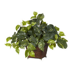 Nearly Natural - Pothos w Coiled Rope Planter Silk Plant - Countless leaves in different shades of green. So life like, it will fool all who see it. Best of all, no watering required. Construction Material: Polyester material, Iron wire, Wood, Rope. 22 in. W x 18 in. D x 17 in. H ( 2 lbs. ). Pot Size: 7 in. W x 7 in.HHandsome is what we'd call this stately Pothos silk plant. With countless lush leaves in several different shades of green, this full Pothos will fool even the most discerning plant lover into thinking it's real. Smartly paired with a beautiful coiled rope planter, this is the ideal ornament for any home or office. Also makes a perfect gift.