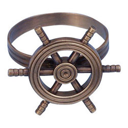 """Handcrafted Model Ships - Antique Copper Ship Wheel Napkin Ring 2"""" - Nautical Napkin Ring - This Antique Copper Finish Ship Wheel Napkin Ring 2"""" is the perfect addition for those with a nautical theme kitchen. Strong, sturdy, and durable buy a set of napkin rings to accommodate all of your guests. The ship wheel is a very recognizable symbol of nautical decor and the sea-faring lifestyle."""