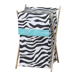 Sweet Jojo Designs - Blue Zebra Hamper - The Blue Zebra laundry hamper will help complete the look of your Sweet Jojo Designs room. This adorable laundry clothes hamper includes a wooden frame, mesh liner and fabric cover. The removable hamper body is secured to the wooden frame with corner loops and Velcro. The wooden stand folds flat for space-saving storage and the removable mesh liner is great for toting laundry. Dimensions: 26.5in. x 15.5in. x 16in.