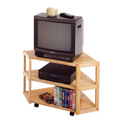 Winsome - Winsome Basics Solid Wood Corner TV Stand in Beech - Winsome - TV Stands - 83423 - The basics corner TV Stand has a simple rustic charm that will be ideal for anywhere in your home. Its corner design makes it both functional and practical. This TV stand features wheels for easy transport and two lower shelves intended for accompanying components and a small selection of DVDs or VHS tapes.