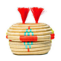Indego Africa Embroidered Pom-Pom Basket - Start the year right by purchasing products that empower women in Rwanda. The selling of this stunning embroidered pom-pom basket allows local women gain independence and develop skills to better themselves.