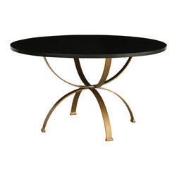 Redford House - Redford House Sophia Round Dining Table in Espresso/Gold - This round pedestal base dining table has an Antique Gold base with a solid hardwood top finished in Espresso. Fine, hand crafted furniture from artisans in North America, extensive finish options and materials from sustainable US wood suppliers are features that make this manufacturer stand apart from others.