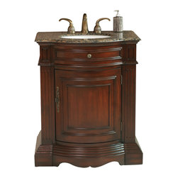 "Stufurhome - 30"" Catherine single Sink Vanity with Baltic Brown Granite Top - 27 Classic vanity sink"