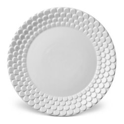 L'Objet - Porcelain Dinner Plate, White - Greco-Roman inspired dinnerware with a dramatic border of raised scales.  Hand gilded with three layers of 24K Gold or Platinum or solid white.  Limoges porcelain.