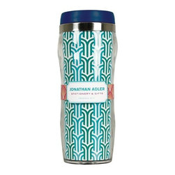 Jonathan Adler - Jonathan Adler Thermal Mug, Hudson - Triple venti skinny soy hazelnut vanilla latte with extra caramel? . . To go. Turn heads with Jonathan Adler's jazzy java mugs. Double plastic walls keep summer drinks cool and winter drinks warm! Now with new ergonomic shape.