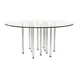 Merano Dining Table - The ultra modern Industrial Merano Dining table is a statement piece for any Dining Room. The 63 inch diameter tempered glass sits atop twelve stainless steel legs.