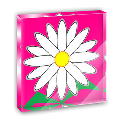 "Made on Terra - Geometric Daisy On Fuchsia Mini Desk Plaque and Paperweight - You glance over at your miniature acrylic plaque and your spirits are instantly lifted. It's just too cute! From it's petite size to the unique design, it's the perfect punctuation for your shelf or desk, depending on where you want to place it at that moment. At this moment, it's standing up on its own, but you know it also looks great flat on a desk as a paper weight. Choose from Made on Terra's many wonderful acrylic decorations. Measures approximately 4"" width x 4"" in length x 1/2"" in depth. Made of acrylic. Artwork is printed on the back for a cool effect. Self-standing."