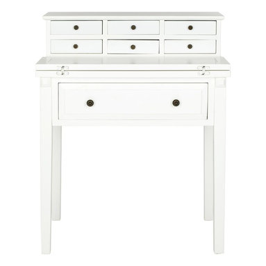 Safavieh - Abigail Fold Down Desk - White - Modeled on an antique roll top desk, but with clean lines for 21st century homes, the Abigail Fold Down Desk is both charming and functional. Crafted of poplar with painted white finish, and styled for small spaces, this desk is the perfect �office� in bedroom, kitchen or guest room.