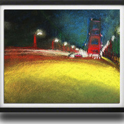 "Ann Rea - Bring home San Francisco, California ""Rushing Home"" , Black Frame, Small - ""Even in a rush home over The Golden Gate Bridge, I'm noticing a blur of light I love."" -Ann Rea"