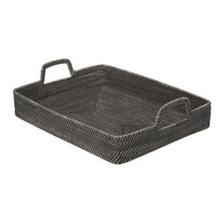 KOUBOO - Rectangular High-Walled Serving Tray in Rattan, Black Wash - 22.5 inches long x 16.75 inches wide x 3.75 inches tall (with handle 5.75 inches).