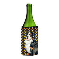 Caroline's Treasures - Bernese Mountain Dog Candy Corn Halloween Portrait Wine Bottle Koozie Hugger - Bernese Mountain Dog Candy Corn Halloween Portrait Wine Bottle Koozie Hugger Fits 750 ml. wine or other beverage bottles. Fits 24 oz. cans or pint bottles. Great collapsible koozie for large cans of beer, Energy Drinks or large Iced Tea beverages. Great to keep track of your beverage and add a bit of flair to a gathering. Wash the hugger in your washing machine. Design will not come off.