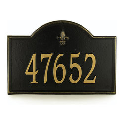 """Ballard Designs - Ballard Fleur-de-lis One Line Estate Address Wall Sign - For One Line, Specify up to five 5 1/2"""" numbers. For Two Lines, Specify up to five 4"""" numbers for top line, up to seventeen 1 3/4"""" characters for bottom line. *Please note that personalized items are non-returnable and non-cancelable."""
