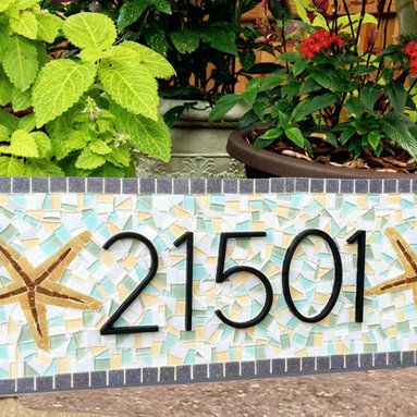 Mosaic House Number Address Sign - This custom mosaic address sign features black metal numbers and two starfish decals. The mosaic colors lend to sophisticated beach house, or cozy seaside cottage -- pale yellows, grays, white aquas, and pale greens.