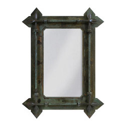 """Ironwood - Wrought Iron Wall Mirror Forged Leaf Design 30"""" - This  unique  rustic  wrought  iron  mirror  frame  features  a  forged  leaf  motif.  Perfect  in  a  feudal  decor  or  as  an  accent  in  any  setting  that  requires  a  unique  mirror,  this  beautiful  mirror  frame  will  become  a  conversation  piece.          ."""