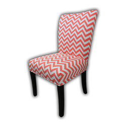 Sole Designs - Julia Cotton Parson Chair (Set of 2) - Give your home a new look with these fashionable chairs. This set of two chairs features fabric upholstery and an attractive finish. Features: -Set of 2.-Upholstery: Coral 100% cotton fabric.-Fan Back.-ZZ printed.-Espresso legs.-Straight legs.-Fire retardant foam.-Wipe clean.-Made in the USA.-Frame construction: Hardwood.-Finish: Wood.-Julia collection.-Collection: Julia.-Distressed: No.-Country of Manufacture: United States.Dimensions: -Overall dimensions: 39'' H x 26'' W x 21'' D.-Overall Product Weight: 23 lbs.