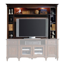 Hooker Furniture - Riley Entertainment Console Hutch   Request Information     Hooker Furniture Hom - White glove, in-home delivery included!  The Riley collection provides organization with flair.  Hutch only.  Entertainment console sold separately.  One open area, one fixed shelf and two adjustable shelves on each side, one light controlled by a three-intensity touch switch, moveable/mountable back panel.