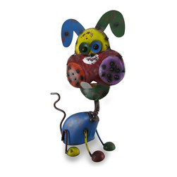 Zeckos - Whimsical Bobble Head Dog Colorful Metal Sculpture - Certainly no mangy mutt, this colorful bobble-headed crazy canine sculpture is a great way to fill up some empty space on your porch, patio or in your home or garden. This bobble head will remind you that today is a great day and you have to keep a smile on your face and a song in your heart. Sculpted from metal and featuring a hand painted distressed finish, this bobble dog sculpture stands 17 inches (43 cm) tall, 9.5 inches (24 cm) long and 6 inches (15 cm) wide. This whimsically happy puppy sculpture is a great gift idea for a dog loving friend
