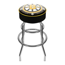 Trademark Global - Padded Bar Stool w NHL Throwback Boston Bruin - Adjustable levelers. Long lasting officially licensed NHL team logo. Great for gifts and recreation decor. 7.50 in. High padded seat. 30 in. High bar stool great for bar pub table and bars. Commercial grade vinyl seat. Chrome plated double rung base. 14.75 in. W x 14.75 in. D x 30 in. H (17 lbs.)This National Hockey League Bar Stool will be the highlight of your bar and game room.