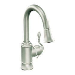 Moen - Moen S6208CSL Classic Stainless High Arc Pulldown Single Mount Bar Faucet 1-Hand - The Woodmere collection's flowing design provides an uncluttered appearance to your countertop. The exclusive patented pause button easily suspends water flow from the wand.
