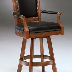 Hillsdale - Kingston Game Swivel Leather Back Barstool - When you want to add more than a bit of class to the den or library, bring on the Kingston Game Swivel Leather Back Barstool. Solid wood construction with a light cherry finish, it adds the dignity and comfort of a padded leather seat and back. If you're going to sit down, you might as well do it in style, and there's no more stylish way to do it than on this beautiful game stool. With armrests, classic swivel design and cutting edge black leather seat upholstery, this chair is perfect for any setting. Comfort is assured by the soft and supple padded leather seat and back, highlighted with traditional metal beading. * For residential use. Add more than a bit of class to the den or library with these Game Swivel Leather Back Barstools.. Solid wood construction. Light cherry finish. Padded leather seat and back.. Light cherry. Seat Height: 31 inches. Counter Stools: 52H x 26W x 23.5D