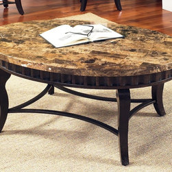 None - Helena Marble Top Oval Coffee Table - The gorgeous brown marble top and stylish fluted metal apron of this coffee table offer an elegant style. Gracefully curved legs and stretchers feature a scratch resistant powder coating for lasting durability.