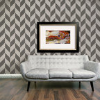 Herringbone Pattern Wall Stencils - Herringbone pattern allover wall stencil. Great Mid-Century Modern pattern for wall stenciling. Choose a tone-on-tone color palette for a more subtle wall treatment, or go bold for more daring drama.