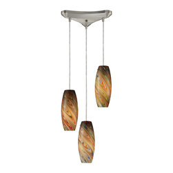 Elk Lighting - Vortex 3-Light Rainbow Pendant in Satin Nickel - Individuality is what defines this exquisite line of hand blown glass. Each piece is meticulously hand blown with up to three layers of uncompromising beauty and style.