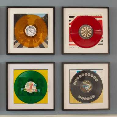 Album Cover Frames - I haven't tired of the idea of framing album covers, and I think they are well suited to a young man's room.