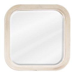 Hardware Resources - Tesla Bath Elements Mirror 26 x 1-3/4 x 26 - 26 x 26 Buttercream reed frame mirror with beveled glass