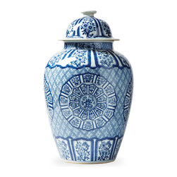 Kathy Kuo Home - Asian Lotus Covered Blue White Hand Painted Temple Jar - C - Add a touch of tradition to your home with this classic temple jar in a brilliant blue hand-painted design. As beautiful as it is functional, you can use it to stash away clutter, or as a standalone piece that will steal the limelight.