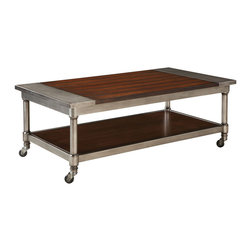 Standard Furniture - Standard Furniture Hudson Rectangular Cocktail Table with Casters in Warm Cherry - Hudson tables offer mainstream industrial styling that blends perfectly with casual contemporary life.
