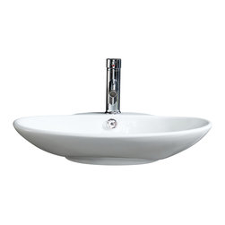 Fine Fixtures - Fine Fixtures White Vitreous China Low oval Vessel Sink - Bring added elegance to your bathroom with this Fine Fixtures modern vessel sink.  A welcoming addition to any bathroom or powder room, constructed of durable and stain resistant vitreous china, this oval sink features sleek, refined sides and its rounded appearance provides it with a modern and fresh look. Its Simple yet fashionable design is sure to leave a lofty impression on your bathroom.