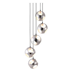 ZUO PURE - Meteor Shower Ceiling Lamp Chrome - The perfectly choreographed spiral of the pendants mesmerize your senses. The lamp is made from chromed steel and comes with five 40W bulbs. The lamp is UL approved.