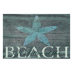 Stupell Industries - It's Better at the Beach Starfish Wall Plaque - Made in USA. Ready for Hanging. Hand Finished and Original Artwork. No Assembly Required. 15 in L x 0.5 in W x 10 in H (2 lbs.)Whether you love the romance of Paris, the buzzing nightlife of New York City, or Chicago's deep dish pizza, celebrate your favorite city with a distressed hand-finished wall plaque. Featuring trendy typography-styled letters in a monochromatic color scheme, these plaques will add edgy appeal to any room of your house. Each plaque is constructed of sturdy medium-density fiberboard with coved and painted borders and a sawtooth hanger for simple installation.