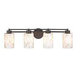 Design Classics Lighting - Bathroom Light with Mosaic Glass - Four Lights - 704-220 GL1026C - Country / cottage neuvelle bronze 4-light bathroom light with cylinder glass shades. A socket ring may be required if installed facing down. Takes (4) 100-watt incandescent A19 bulb(s). Bulb(s) sold separately. UL listed. Damp location rated.